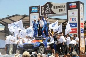 DAKAR ARGENTINA CHILE 2010 - PODIUM ARRIVEE - PODIUM FINISH - BUENOS AIRES (ARG) - 17/01/2010- PHOTO : ERIC VARGIOLU / DPPI