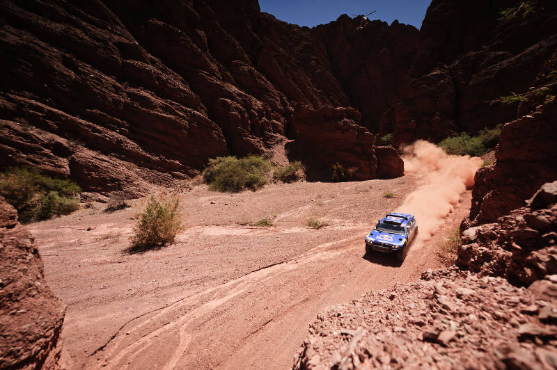 Carlos Sainz (driver) and Lucas Cruz (co-driver) in action during the 3rd stage of Dakar Rally 2011 between Tucuman and Jujuy on january 4th, 2011