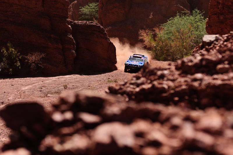 Nasser al Attiyah (driver) and Timo Gottschalk (co-driver) in action during the 3rd stage of Dakar Rally 2011 between Tucuman and Jujuy on january 4th, 2011