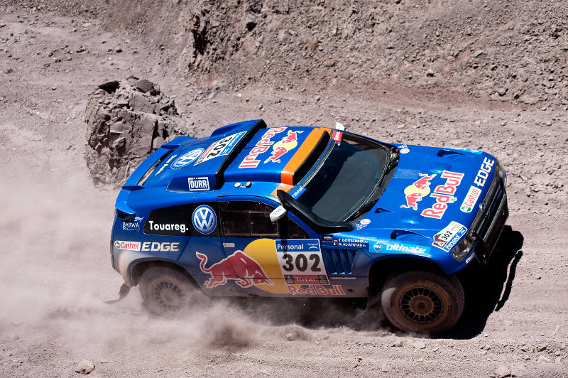 Nasser al Attiyah (driver) and Timo Gottschalk (co-driver) in action during the 4th stage of Dakar Rally between Jujuy (Argentina) and Calama (Chile) on january 5th, 2011