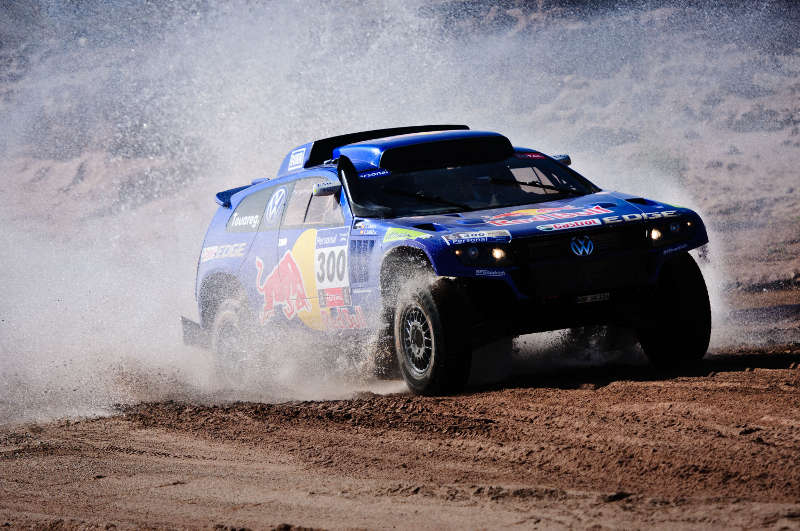Carlos Sainz (driver) and Lucas Cruz (co-driver) in action during the 11th stage of Dakar Rally between Chilecito and San Juan, Argentina on january 13th, 2011