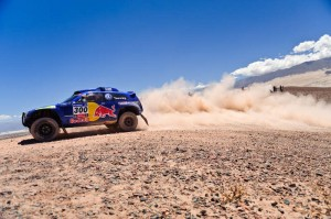 Carlos Sainz (driver) and Lucas Cruz (co-driver) in action during the 10th stage of Dakar Rally between Copiapo, Chile and Chilecito, Argentina on january 12th, 2011